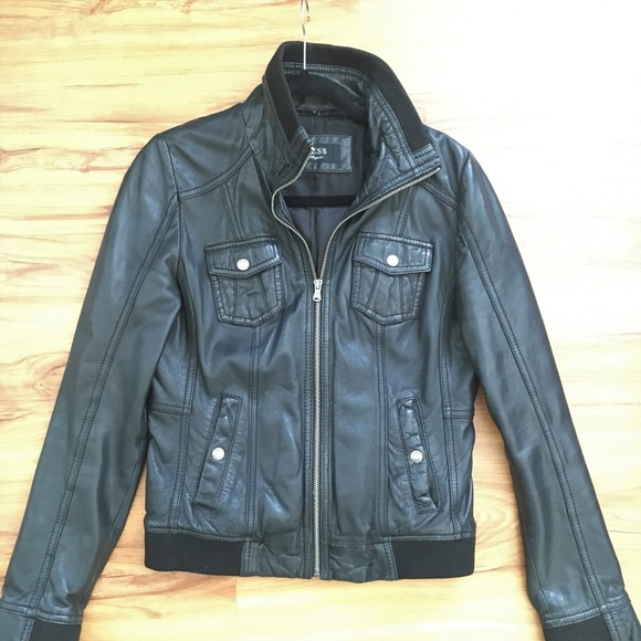 Guess Jackets & Blazers - Guess Black Leather Jacket
